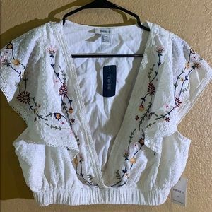 white flowered top